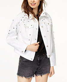 Tinseltown Juniors' Ripped Embellished White Denim Jacket
