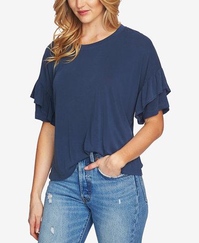1.STATE Ruffle-Sleeve T-Shirt