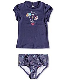 Roxy 2-Pc. Printed Rash Guard Swim Set, Little Girls