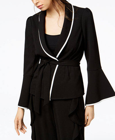 Bar III Bell-Sleeve Wrap-Front Jacket, Created for Macy's