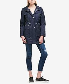 DKNY Petite Cinched-Waist Raincoat