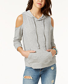 Hippie Rose Juniors' Cold-Shoulder Hoodie