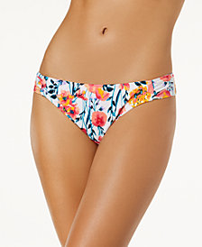Hula Honey Juniors' In Such a Fleury Printed Side-Tab Bikini Bottoms, Created for Macy's