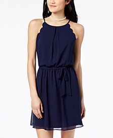 Juniors' Scalloped Sleeveless Dress with Sash Belt