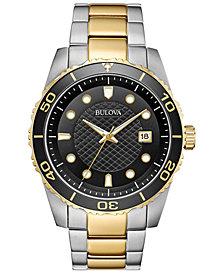Bulova Men's Sport Two-Tone Stainless Steel Bracelet Watch 43mm, Created for Macy's
