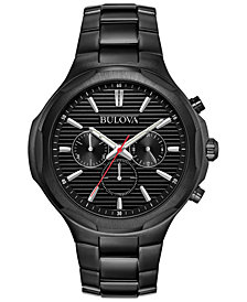 Bulova Men's Chronograph Sport Black Stainless Steel Bracelet Watch 45.5mm, Created for Macy's