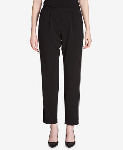 Calvin Klein Piped Straight-Leg Pants