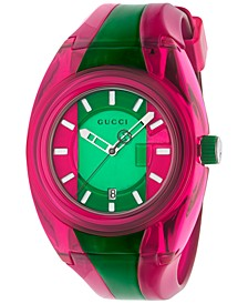 Unisex Swiss Sync Pink & Green Rubber Strap Watch 46mm