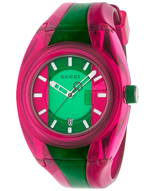 Gucci Unisex Swiss Sync Pink & Green Rubber Strap Watch 46mm