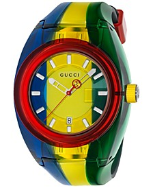 Unisex Swiss Sync Blue, Yellow & Green Rubber Strap Watch 46mm