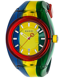 Gucci Unisex Swiss Sync Blue, Yellow & Green Rubber Strap Watch 46mm