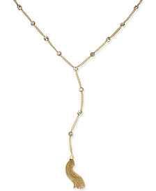 Thalia Sodi Gold-Tone Crystal Tassel Y-Necklace