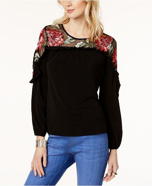 1e41330d9fa ... Thalia Sodi Embroidered Mesh-Yoke Top, Created for Macy's ...