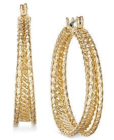 Charter Club Gold-Tone Textured Triple-Row Hoop Earrings, Created for Macy's