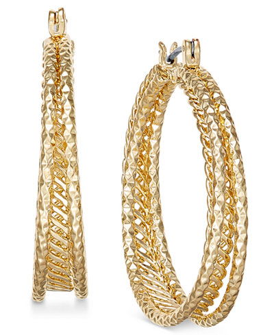 Charter Club Gold-Tone Textured Triple-Row Hoop Earrings, Created for Macy's