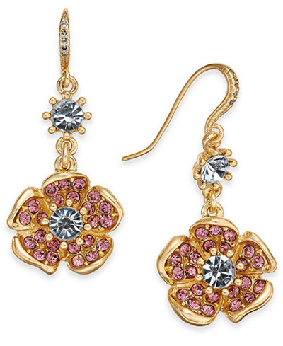 Charter Club Gold-Tone Multi-Stone Flower Drop Earrings, Created for Macy's