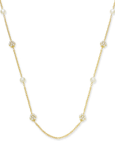Charter Club Gold-Tone Crystal & Imitation Pearl Flower Strand Necklace, 42