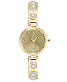Charter Club Women's Imitation Pearl Bracelet Watch 29mm, Created for Macy's