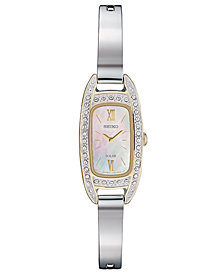 Seiko Women's Solar Crystal Stainless Steel Bangle Bracelet Watch 16.5mm