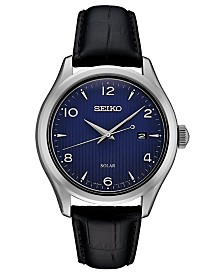 Seiko Men's Solar Essentials Black Leather Strap Watch 42mm