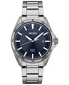 Seiko Men's Solar Essentials Stainless Steel Bracelet Watch 43mm