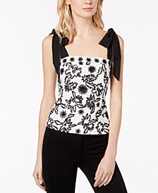 Rachel Zoe Cotton Beaded Embroidered Top