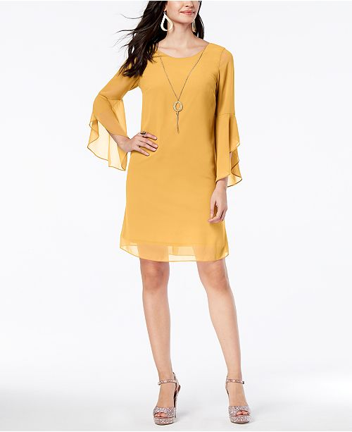 da36a403cf5 ... Thalia Sodi Flared-Sleeve Necklace Dress