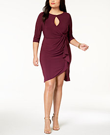 Love Squared Trendy Plus Size Cutout Faux-Wrap Dress