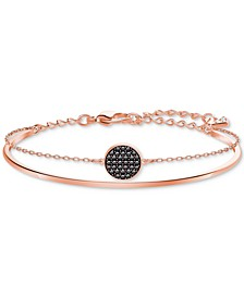 Rose Gold-Tone Clear & Jet Crystal Disc Double-Row Bangle Bracelet