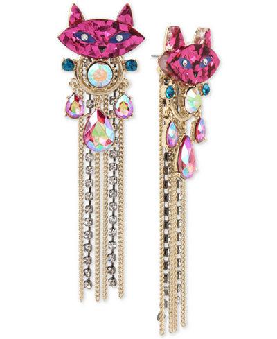 Betsey Johnson Two-Tone Stone & Crystal Kitty Cat Fringe Drop Earrings