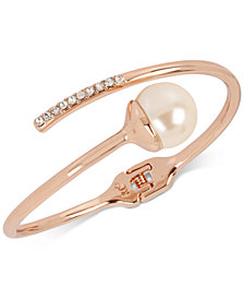 Kenneth Cole New York Rose Gold-Tone Imitation Pearl and Crystal Bypass Bangle Bracelet