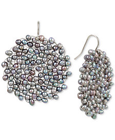 Kenneth Cole New York Silver-Tone Gray Imitation Pearl Woven Drop Earrings
