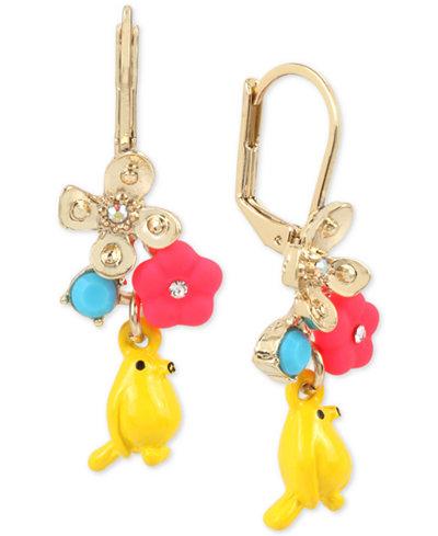 Betsey Johnson Gold-Tone Flower & Bird Drop Earrings