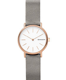 Skagen Women's Signatur Slim Gray Satin Strap Watch 30mm
