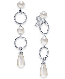Danori Silver-Tone Cubic Zirconia Link & Imitation Pearl Clip-On Drop Earrings, Created for Macy's