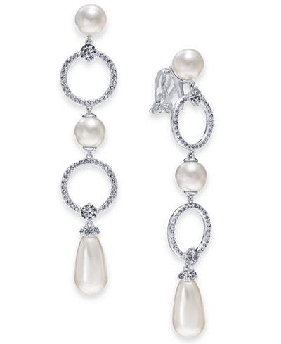 Danori Silver-Tone Cubic Zirconia Link & Imitation Pearl Clip-On Drop Earrings, Created for Macy's