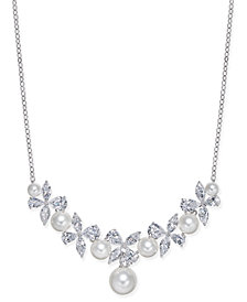 "Danori Silver-Tone Imitation Pearl & Crystal Pavé Statement Necklace 16"" + 2"" extender, Created for Macy's"