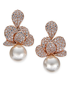 Danori Cubic Zirconia & Imitation Pearl Drop Earrings, Created for Macy's