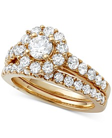 Certified Diamond Bridal Set (2 ct. t.w.) in 18k Gold, White Gold or Rose Gold, Created for Macy's