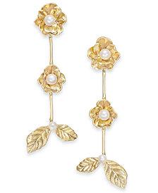 kate spade new york Gold-Tone Imitation Pearl Flower & Leaf Linear Drop Earrings