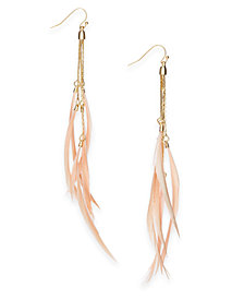 I.N.C. Gold-Tone Feathered Drop Earrings, Created for Macy's