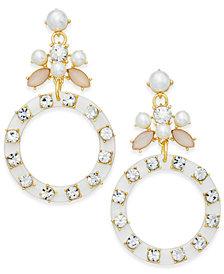I.N.C. Gold-Tone Imitation Pearl & Resin Hoop Drop Earrings, Created for Macy's