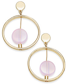 I.N.C. Gold-Tone Resin Stone Gypsy Hoop Earrings, Created for Macy's
