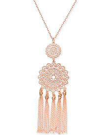 "I.N.C. Rose Gold-Tone Filigree & Fringe Pendant Necklace, 32"" + 3"" extender, Created for Macy's"