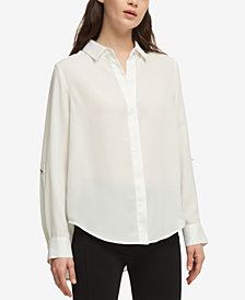DKNY High-Low Roll-Tab-Sleeve Shirt, Created for Macy's