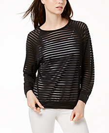 MICHAEL Michael Kors Sheer-Stripe Top