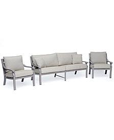 Tara Aluminum Outdoor 3-Pc. Seating Set (1 Sofa & 2 Club Chairs), Created for Macy's