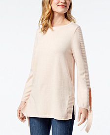 Style & Co Tie-Sleeve Sweater, Created for Macy's