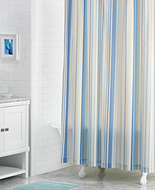 "CLOSEOUT! Martha Stewart Collection Rainshower 72"" x 72"" Variegated-Stripe Shower Curtain, Created for Macy's"