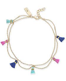 I.N.C. Gold-Tone Multi-Tassel Double Strand Ankle Bracelet, Created for Macy's